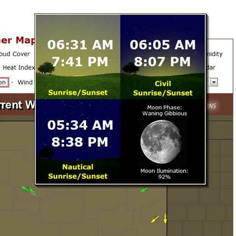 usairnet.com wind direction map... when you hover for a LONG time over your county's airport arrow, you go from the wind speed/direction pop-up to this one - which tells you sunrise, sunset & phase of the moon... perfect for planning that moonlit romp.