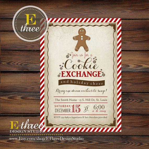 Printable Christmas Cookie Exchange Invitation - Vintage Christmas Party Invitation - Cookie Swap Party Invite