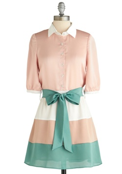 Sample 1856 - Green, Pink, White, Color Block, Bows, Buttons, Casual, Twofer, 3/4 Sleeve, Colorblocking, Multi, Spring   OH MODCLOTH you've done it againIndie Clothing, Vintage Wardrobe, Colorblock, Buttons, Bows, Summer Clothing, Retro Vintage, Modcloth Com, Vintage Clothing