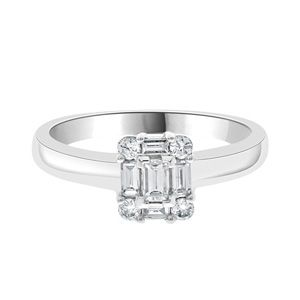 Cluster diamond ring set in 18k white gold with a centre emerald cut diamond surrounded by additional emerald cut and round brilliant cut diamonds this ring weights a total of 0.30 carats. This ring is available in different carat weights to suit your budget.