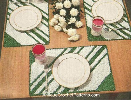Stripped Placemat free crochet pattern - 10 Free Crochet Placemat Patterns