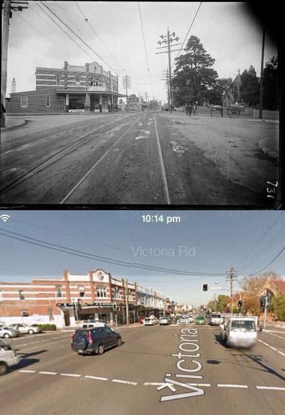 The corner of Victoria and Pittwater Roads, Gladesville circa 1900 and 2013. [Trove > Google Street View. By Phil Harvey]
