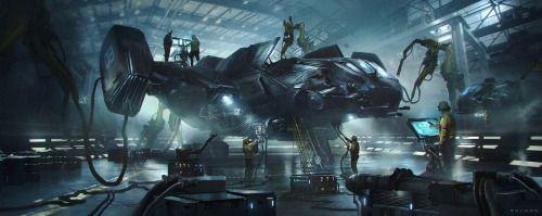 Hangar - War Ship  - by  Juan Pablo Roldan #DiscoverArt - http://wp.me/p6qjkV-mpO  #Art