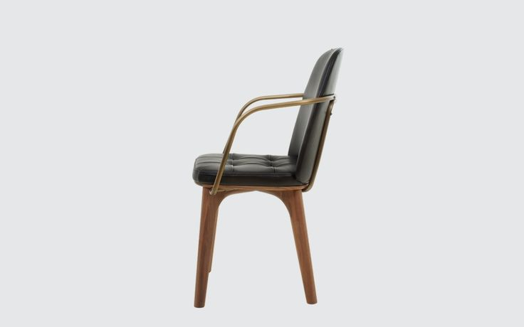 Utility Highback Armchair | Stellar Works | Designed by Neri&Hu | Code: UT-S221 Materials: Solid wood legs, Steel brass finish, Leather upholstery Dimensions: W537 x D523 x H861mm Seating height: 466mm