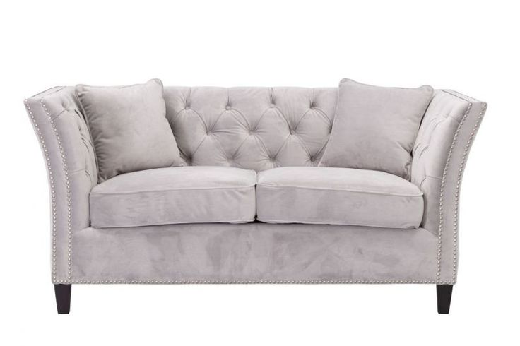 Sofa Chesterfield Modern Velvet Light Grey   #dekoriapl #sofa #chesterfield #furniture #livingroom #aksamit #style #beautiful #design #