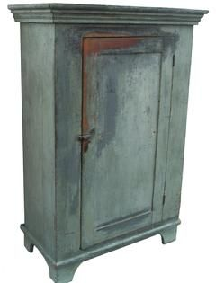 Milk Cupboard with old pewter gray paint over the original slate gray. circa 1840 - 1850