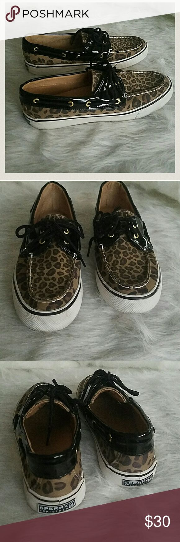 Leopard Sperry Biscayne Top-Sider  Leopard upper print with patent.  2 eye lace up closure.  Flexible rubber sole. Very Clean interior and exterior. Sperry Top-Sider Shoes Flats & Loafers