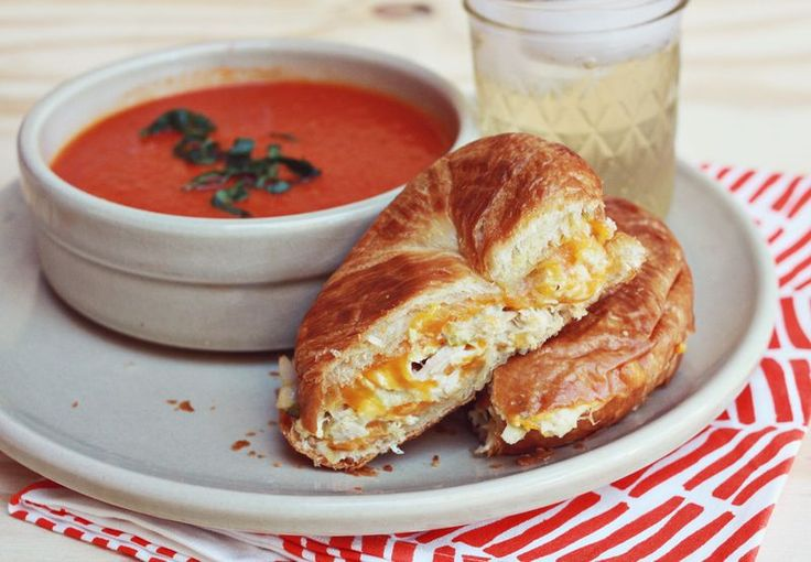 We paired this sandwich with a baked tuna melt. Simply pop an open face tuna melt in a hot oven for a few minutes until the cheese has melted. I love using different kinds of bread on sandwiches, it can really add a lot more variety to your favorite stand—bys. Here we used a croissant roll.