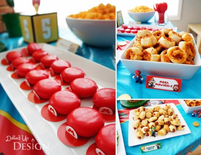 Boys Mario Bros Video Game Birthday party pizza pinwheel ideas