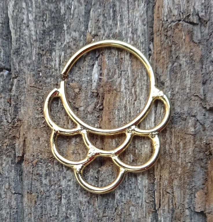 Septum Ring, Fake Septum, Brass Septum, Golden Septum for Pierced Nose, Tribal Septum Ring, Faux Septum, Nose Jewelry, Nose Cuff, 16g Septum by TheEthnicJewels on Etsy