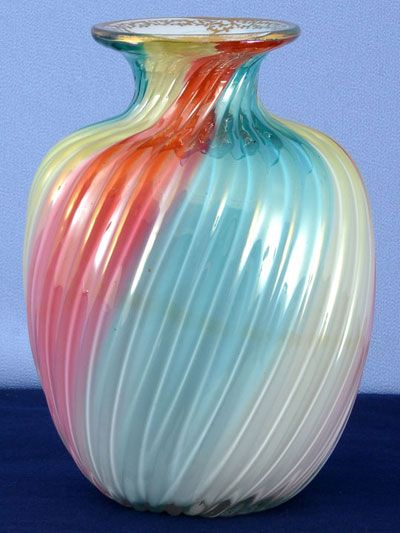 "6 1/2"" cased glass vase signed Steven & Williams rainbow paperweight shape. Hand painted gold detail, circa 1930."