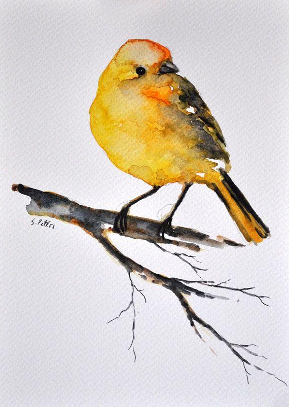 Peinture aquarelle originale Canary Bird par ArtCornerShop sur Etsy