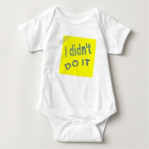 I Didn't Do It design Baby Jersey Bodysuit Not all baby bodysuits are created equal – this popular style is a must-have for your precious little bundle. The neckband is designed for easy on-and-off and a three-snap closure makes nappy changes easy peasy. Personalise it with a custom image or message or dress it up with a cute pair of socks and hat or hair accessory. There's no wrong way to wear this super soft bodysuit.
