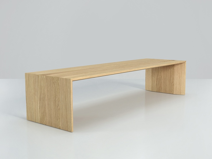 PLANAR bench by studio brovhn. ideal for foyers, low seating in front of windows, and numerous other application. matt lacquer or wood finish options. white oak finish shown in image. made in canada. www.studiobrovhn.com , www.facebook.com/studiobrovhn, #studiobrovhn #miguelbrovhn #furniture #wood #bench #solid wood