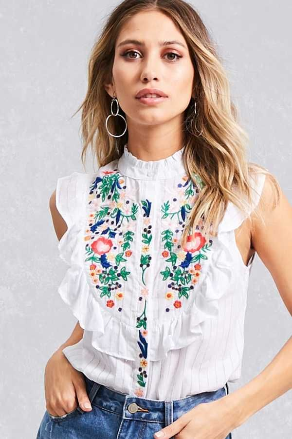 FOREVER 21+ Floral Embroidered Ruffle Shirt