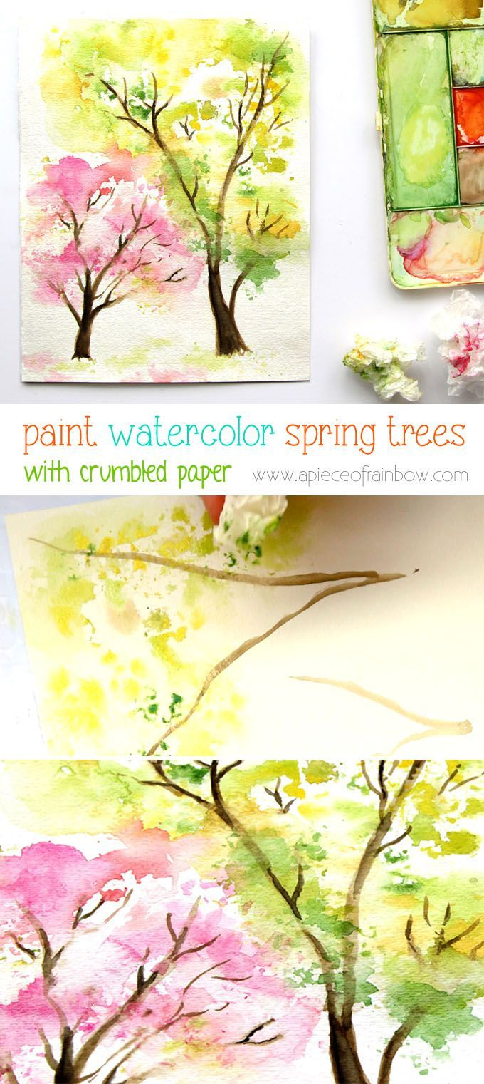 No art experience needed! Easy and fun tutorial and video on how to paint a beautiful spring tree watercolor painting using crumbled paper!   - A Piece Of Rainbow