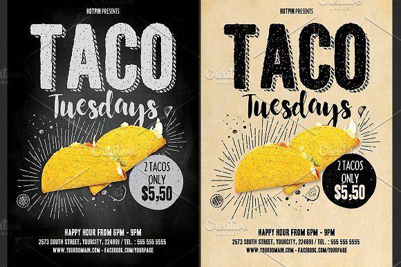 Taco Tuesdays Flyer Template Restaurant Flyer Restaurant Poster