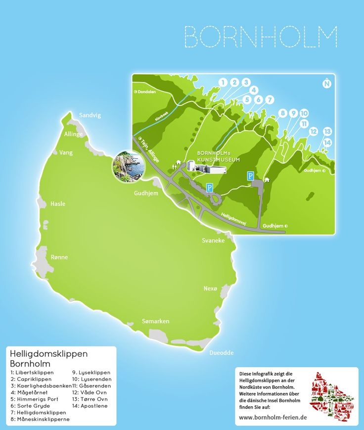 Detailkarte der Helligdomsklippen (Helligdomsklipperne) an der Nordküste der Insel Bornholm #Bornholm #Helligdomsklippen #Karte #Daenemark