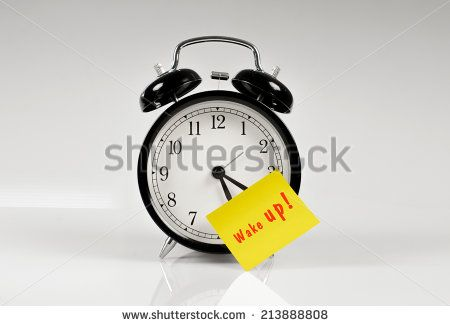 Alarm Clock With A Yellow Note Saying Wake Up Stock Photo 213888808 : Shutterstock