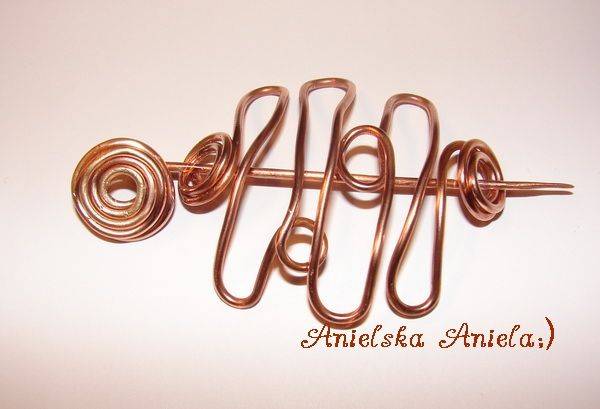 copper vintage hairpin...pin...brooch