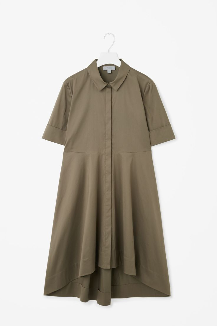 COS image 4 of Short sleeve shirt dress in Khaki Green