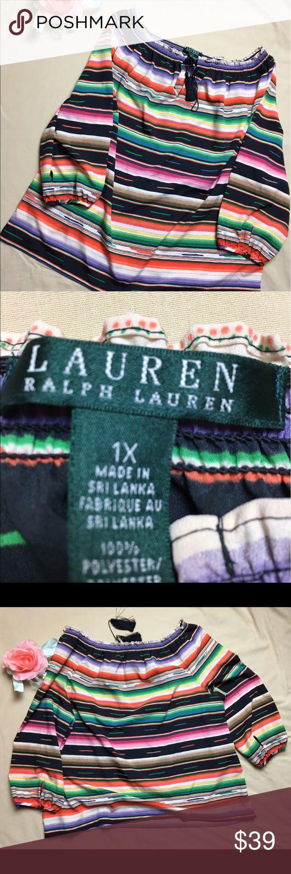 Lauren Ralph Lauren boho Top Blouse 1X Lauren Ralph Lauren Stripped Boat Neck Boho Top Blouse Tassel Size 1X Lauren Ralph Lauren Tops Blouses