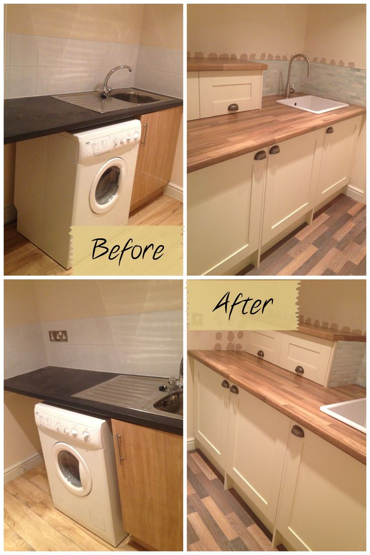 A before and after of our small utility room revamp, after the cupboards were replaced and old tiles taken off, and before the painting / finishing touches! So much more storage and a hidden washing machine