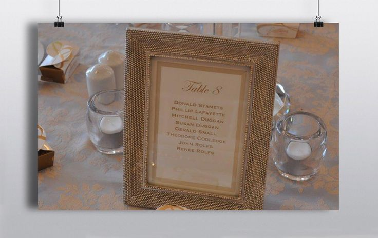 Selection of Beautiful 6×4 Table Frames with printed calligraphy insert.  Can be used for table numbers/ names or guest names. http://www.prophouse.ie/portfolio/table-frames/