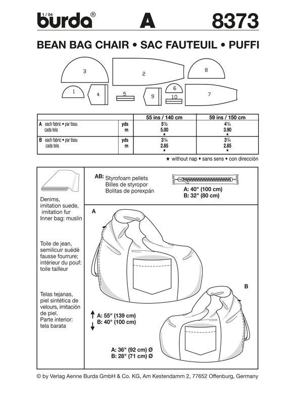 Burda Bean Bag Pattern 8373 Dw Pinterest Sewing