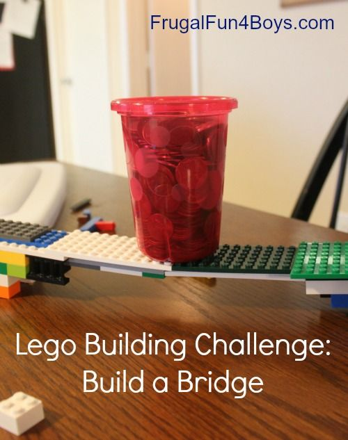 100 pennies in a cup...see who can make a bridge to support it using the smallest amount of legos. Great for after the state tests or during the last week of school!