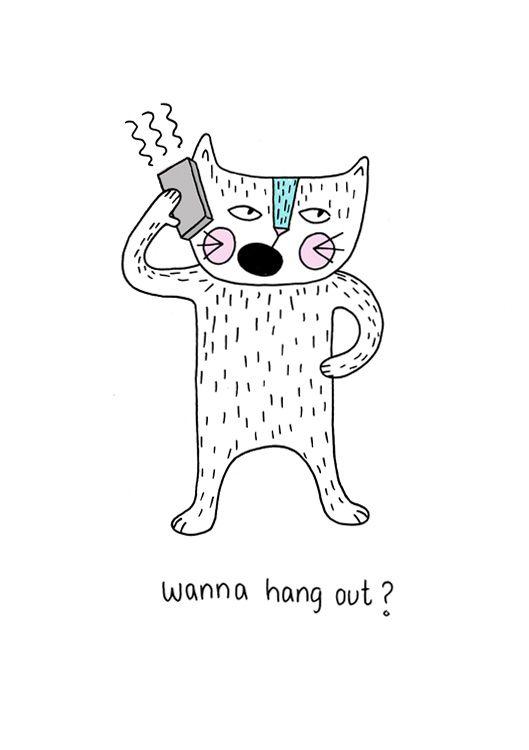 Wanna hang out ? cat illustration Illustration by: Rikkes Bix