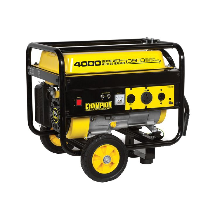Champion Power Equipment 46597 3500W/ 4000W 196cc Portable Generator with RV Outlet and Wheel Kit (4000 Watt Portable Generator with Wheel Kit), Yellow