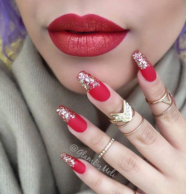 26 Red And Silver Glitter Nail Art Designs Ideas: Ombre Lips, Glitter And Silver