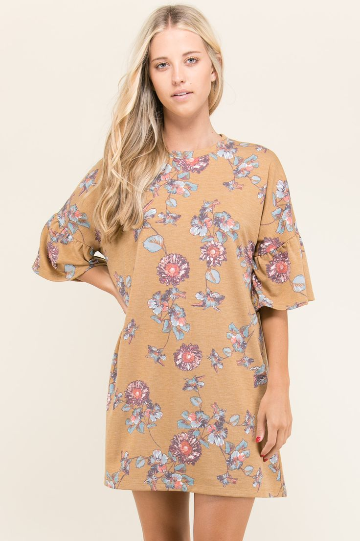 TRUMPET SLEEVE FLORAL DRESS BY TRES BIEN