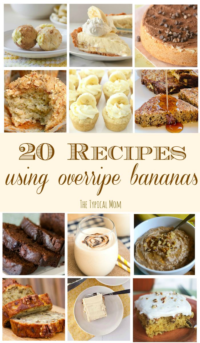 20 GREAT recipes using your overripe bananas! You've gotta' try the banana cake and cookies!