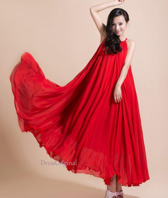 red maxi dress red chiffon dress Evening dress  by DressOriginal, $53.90