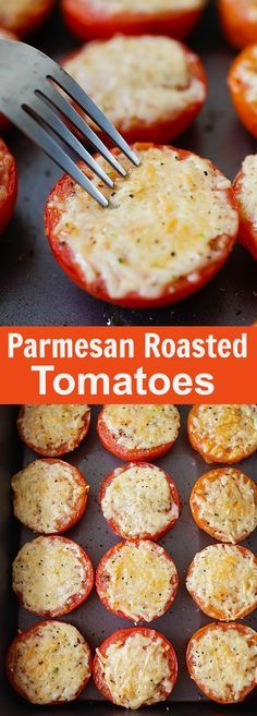 Parmesan Roasted Tomatoes – juicy and plump roasted tomatoes loaded with Parmesan cheese. So easy to make, fool-proof and amazing | http://rasamalaysia.com