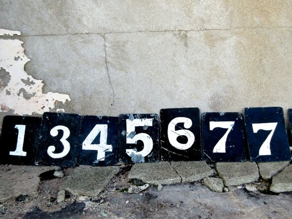 Collection 13 x Vintage Metal Cricket Score Numbers Hand