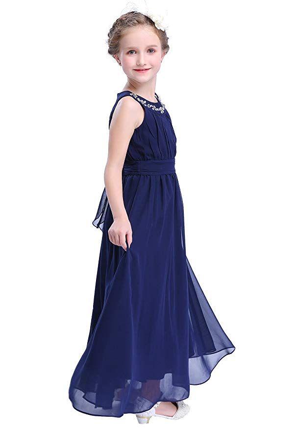 652bba2ad Happy Rose Chiffon Long Junior Bridesmaid Dress Navy 16 | Wedding ...