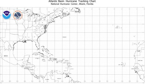 NOAA Atlantic Basin Hurricane Tracking Wall Map