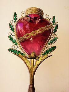 Ancien Cœur De Marie votif en verre Soufflé ,lampe d'autel 19 eme