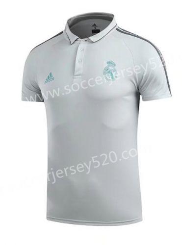 b42ee3a58 2017-18 Real Madrid Light Gray Thailand Polo Shirt