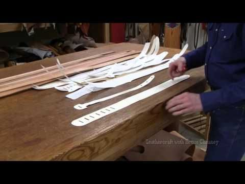 Leather guitar strap making - guitar straps patterns templates - DIY Crafts - Cheaney Leathercraft - YouTube