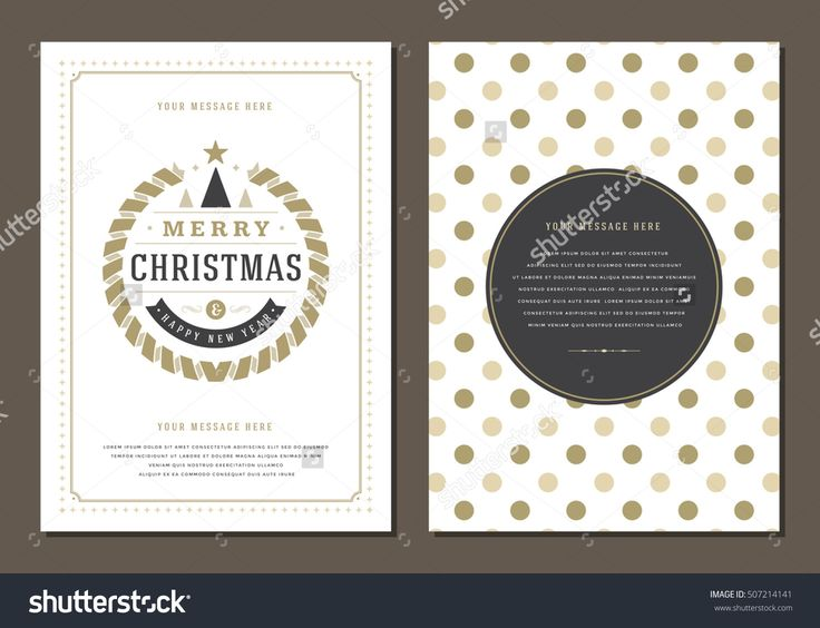 Christmas Greeting Card or Poster Design Template. Merry Christmas and Holidays Wishes Retro Typography Label and place for text. Vector illustration EPS 10.