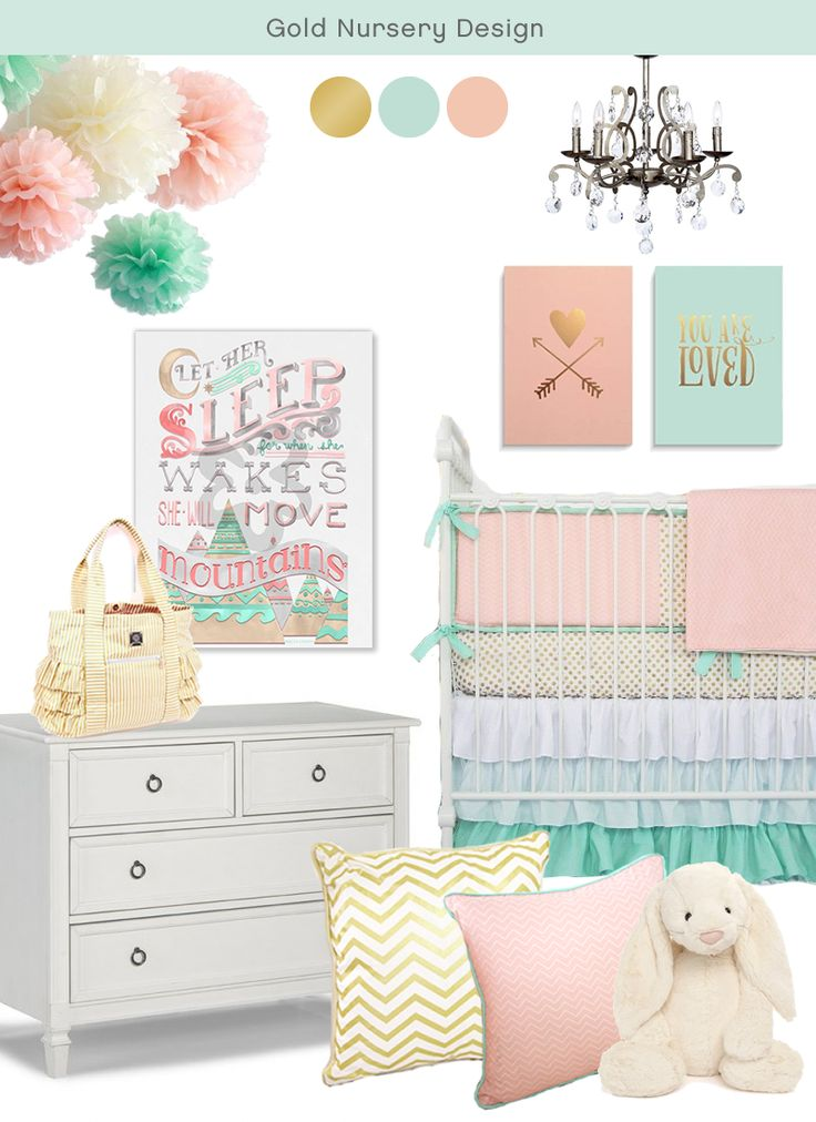 SugarBabies baby girl gold, peach and mint nursery inspiration <3 <3