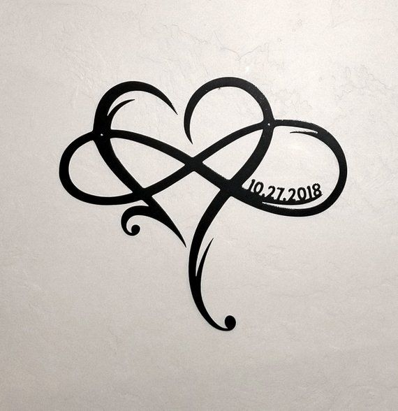 Metal Infinity Symbol with Heart and Custom Wedding Date Wall Decor Wedding Gift for Couple Personalized Anniversary Gift Heart Infinity