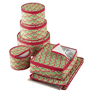 6-Piece Chevron Holiday Dinnerware Storage Set - For all my holiday dishes - $39.99
