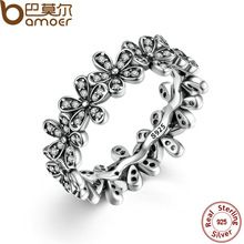 BAMOER 925 Sterling Silver Flowers Finger Rings Dazzling Daisy Meadow Stackable Ring, Clear CZ For Women Wedding Jewelry PA7122(China (Mainland))