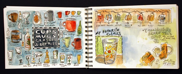 Amazing watercolor journal of spaces and rooms of the artist's house.