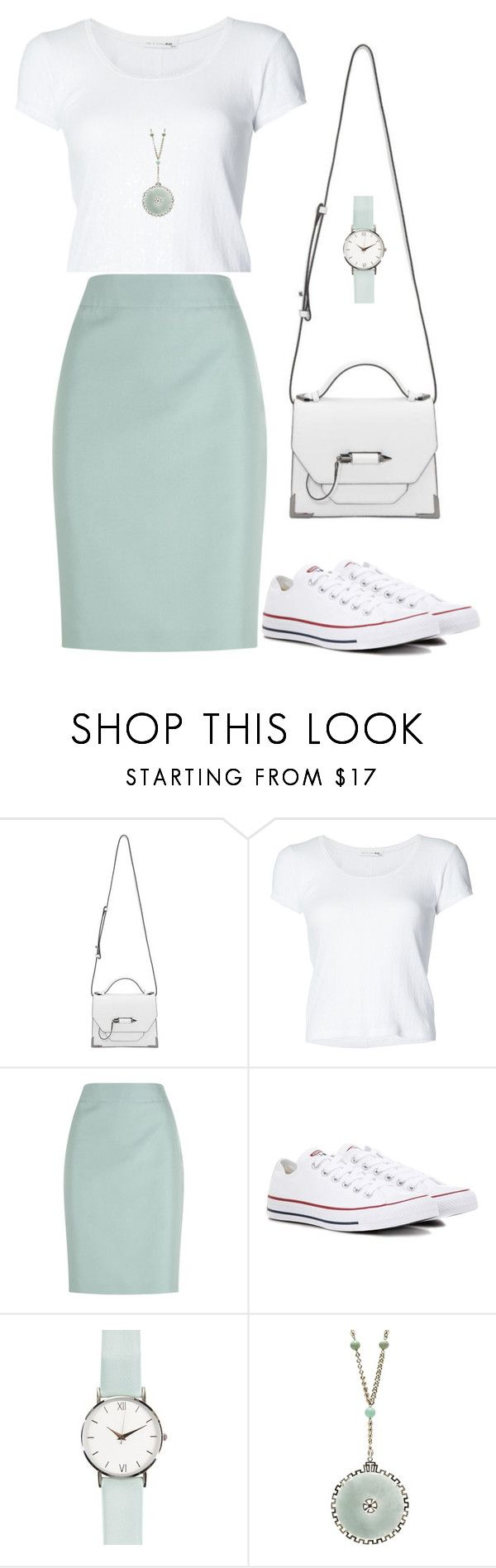 """Green tea latte"" by indirareeves on Polyvore featuring Mackage, rag & bone, Armani Collezioni and Converse"